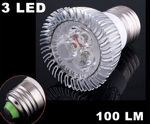 100LM E27 3W Energy Saving Cold White 3 LED Light Lamp Bulb  Free Shipping  Retail