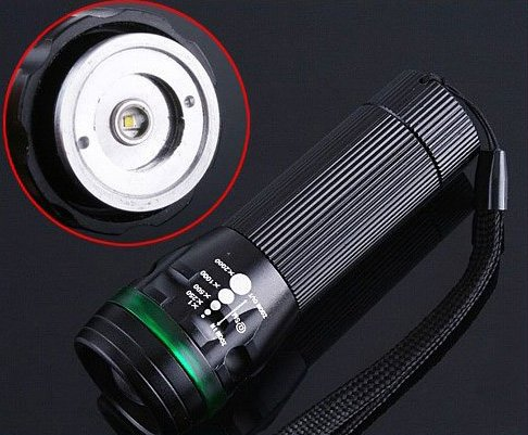 4 COLOR! 3 Mode Adjustable Zoom Torch CREE LED Flashlight  Free Shipping  Retail