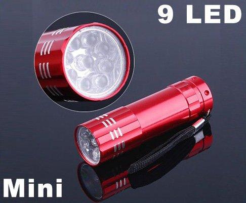 9 LED Flashlight Aluminium LED Torch Camping Flashlight  10pcs/lot  Free Shipping