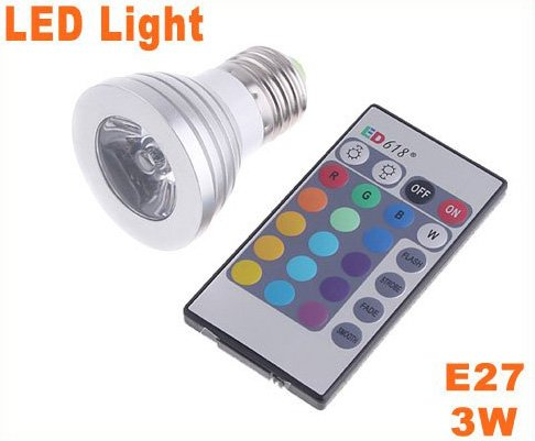 IR Remote Control E27 3W 16-Color RGB LED Bulb Light  10pcs/lot  Free Shipping