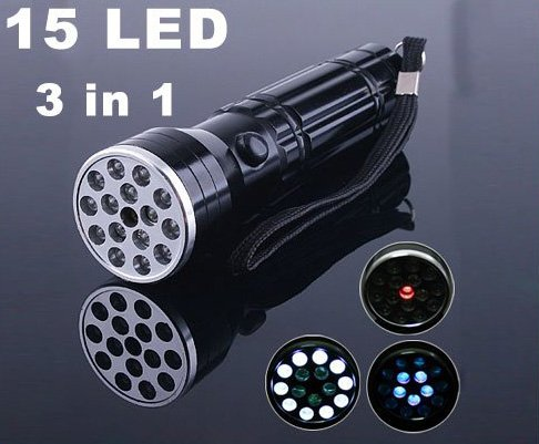 15 LED UV LASER Ultraviolet light Lamp Torch Flashlight  Free Shipping  Retail