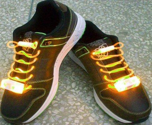LED Light Up Shoelaces Flash Shoestrings Yellow  10sets/lot  Free Shipping