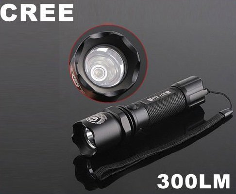 CREE Q5 LED 300LM 3-Modes 18650 Rechargeable Flashlight Torch  5pcs/lot  Free Shipping