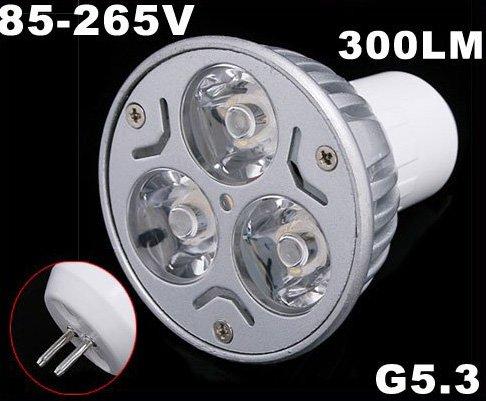 Energy G5.3 85-265V 3*1W Warm White LED Spot Light Lamp Bulb 20pcs/lot Free Shipping