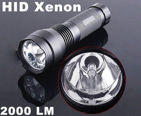24W 2000LM Ultra-Bright Waterproof HID Xenon Flashlight Torch Black  Free shipping