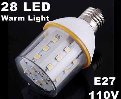 10pcs/lot  3500K 110V 4.5W E27 SMD Warm Light 28 LED Bulb Lamp  Free Shipping