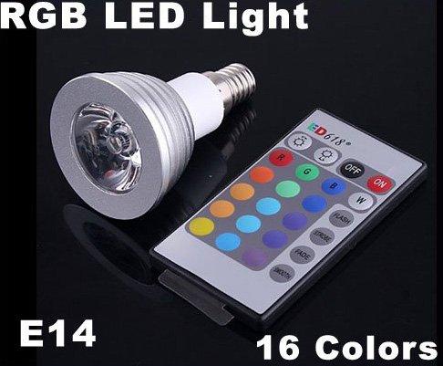 3W Energy-saving Remote Control  RGB E14 LED Light Bulb  Free Shipping  Retail