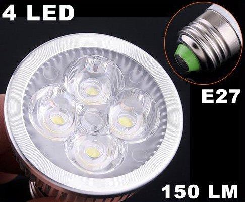 E27 150LM 4W Energy Saving Cold White 4 LED Light Bulb  Free Shipping  Retail