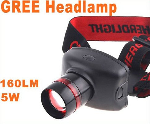 Adjustable CREE LED 160 Lumens 5W 3 Modes Headlamp Flashlight  15pcs/lot  Free Shipping