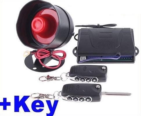 Car alarm system 1-Way Car Alarm Security System with Remote Control + Key free shipping