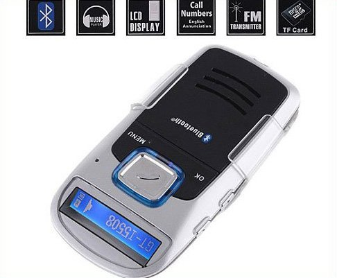 Hot Sell  Solar-Powered Bluetooth Car kit  Bluetooth Cell Phone Handsfree car Kit