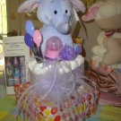 Purple Elephant Cup Cake Diaper Cake