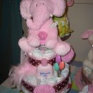 Macy Baby cake pink and brown polka dot  diaper cake