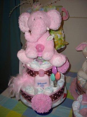 Macy Baby cake pink and brown polka dot  diaper cake