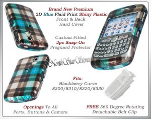 BLACKBERRY CURVE 8320 8330 BLUE PLAID CHECK COVER CASE
