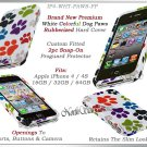 for APPLE iPHONE 4 4S AT&T SPRINT VERIZON WHITE PUPPY PAWS PRINT HARD CASE GUARD
