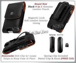 for SAMSUNG GALAXY S2 II SKYROCKET ATT BLACK VERTICAL LEATHER CASE POUCH HOLSTER