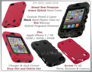 for APPLE iPHONE 4 4S 4G AT&T SPRINT VERIZON BLACK RED ARMOR HYBRID CASE COVER