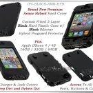 for APPLE iPHONE 4 4S ATT SPRINT VERIZON BLACK ARMOR HYBRID SILICONE SKIN COVER