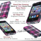 for APPLE iPHONE 4 4S SPRINT VERIZON HARD PINK PLAID SNAP-ON CASE SKIN COVER NEW