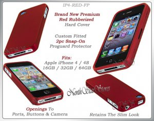 for APPLE iPHONE 4 4S 4G AT&T SPRINT VERIZON HARD RED RUBBERIZED CASE COVER SKIN