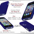 for APPLE iPHONE 4 4S 4G ATT SPRINT VERIZON HARD BLUE RUBBERIZED CASE COVER SKIN