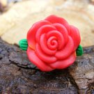 Large Red Clay Rose Micro Geocaching Container