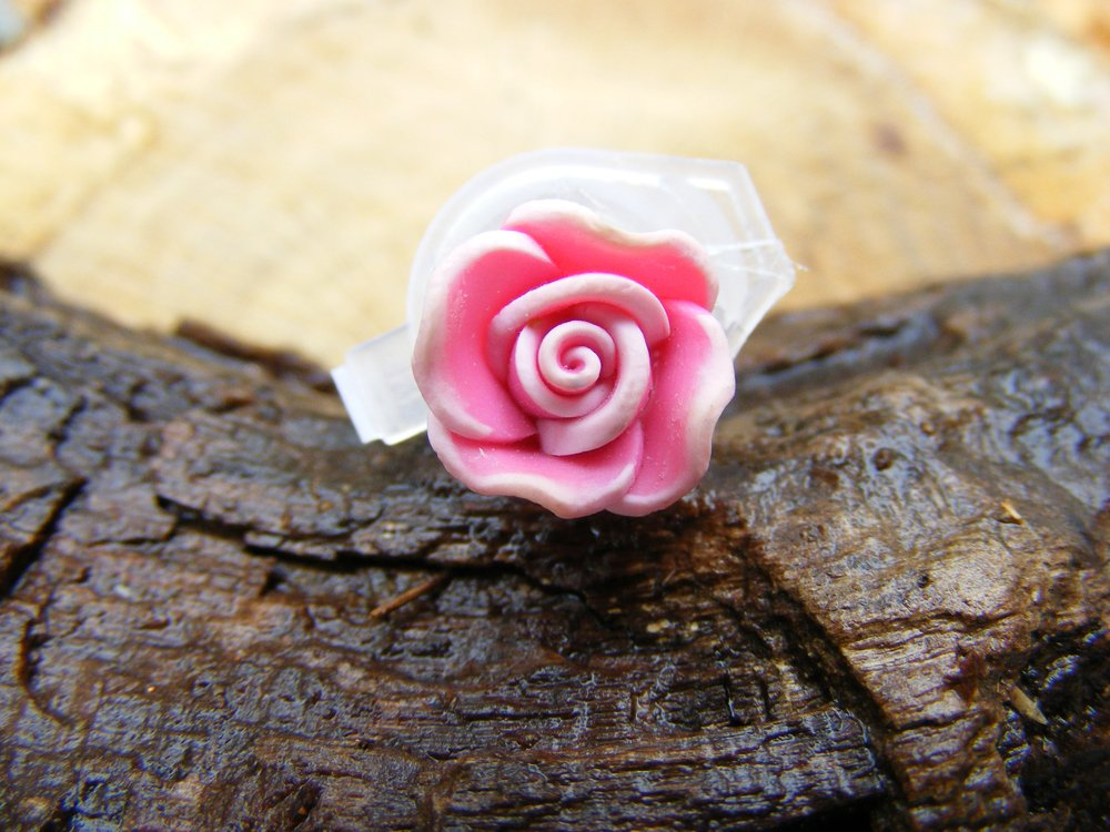 Small Variegated Pink Clay Rose Micro Geocaching Container
