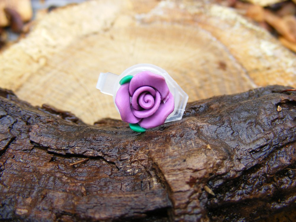 Small Lavender Clay Rose Micro Geocaching Container