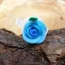 Small Blue Clay Rose Micro Geocaching Container