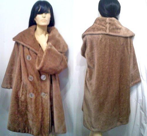 Vtg 60's Bell Sleeve Faux Fur Swing Coat Big Collar ML
