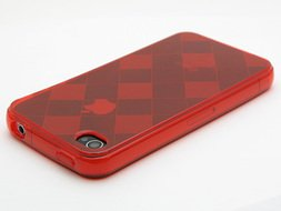 Square Pattern TPU Case for Apple iPhone 4 - Red