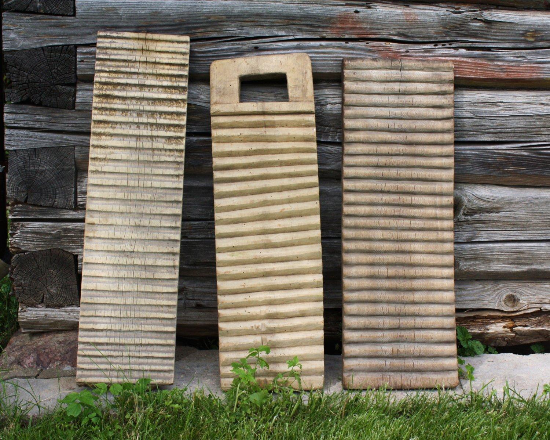 Old Primitive Carved Wooden Washboards