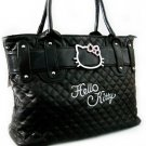 Womens Medium Size Black Quilted Belt Handbag Purse Tote Bag Handmade with Slider Charm Jewelry