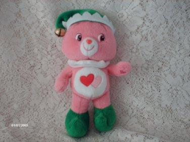 "2007 9"" Care Bears LOVE-A-LOT Christmas ELF Plush"