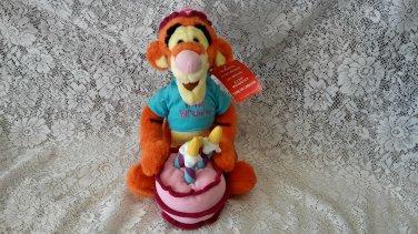 "13 ""Disney ""Happy Birthday"" Musical Wind Up Tigger Plush Toy"