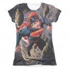 Superman Up Up Sublimation Juniors T-Shirt Black