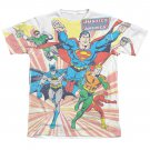 Justice League Coming At You Sublimation Tee Shirt White