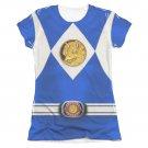 Power Rangers Emblem Costume Sublimation Juniors Tee Shirt Blue