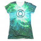 Green Lantern Power Swirl Sublimation Juniors T-Shirt White