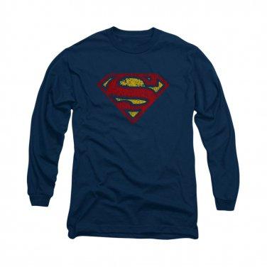 Superman Crackle Logo Long Sleeve T-Shirt Blue