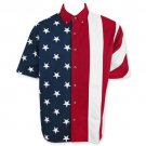 American Flag USA Button Up Dress Shirt Red