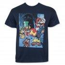 Nintendo Mario Jumping On Goomba Men's Tee Shirt Blue