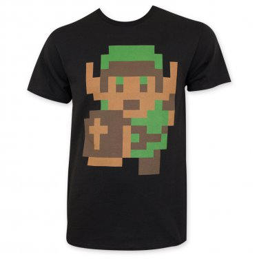 Nintendo Zelda Men's Pixelated Link Tee Shirt Black