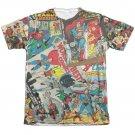 Justice League Comic Collage Sublimation T-Shirt White