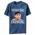 The Sandlot Play Ball Like A Girl Heather T-Shirt Blue