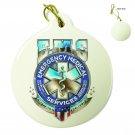 EMS Badge Of Honor Porcelain Ornament Off White