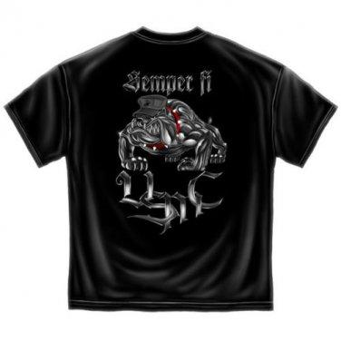 Semper Fi Marine Corps USA Patriotic Graphic T Shirt Black