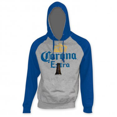 Corona Extra Blue Sleeve Beer Pouch Hoodie Gray