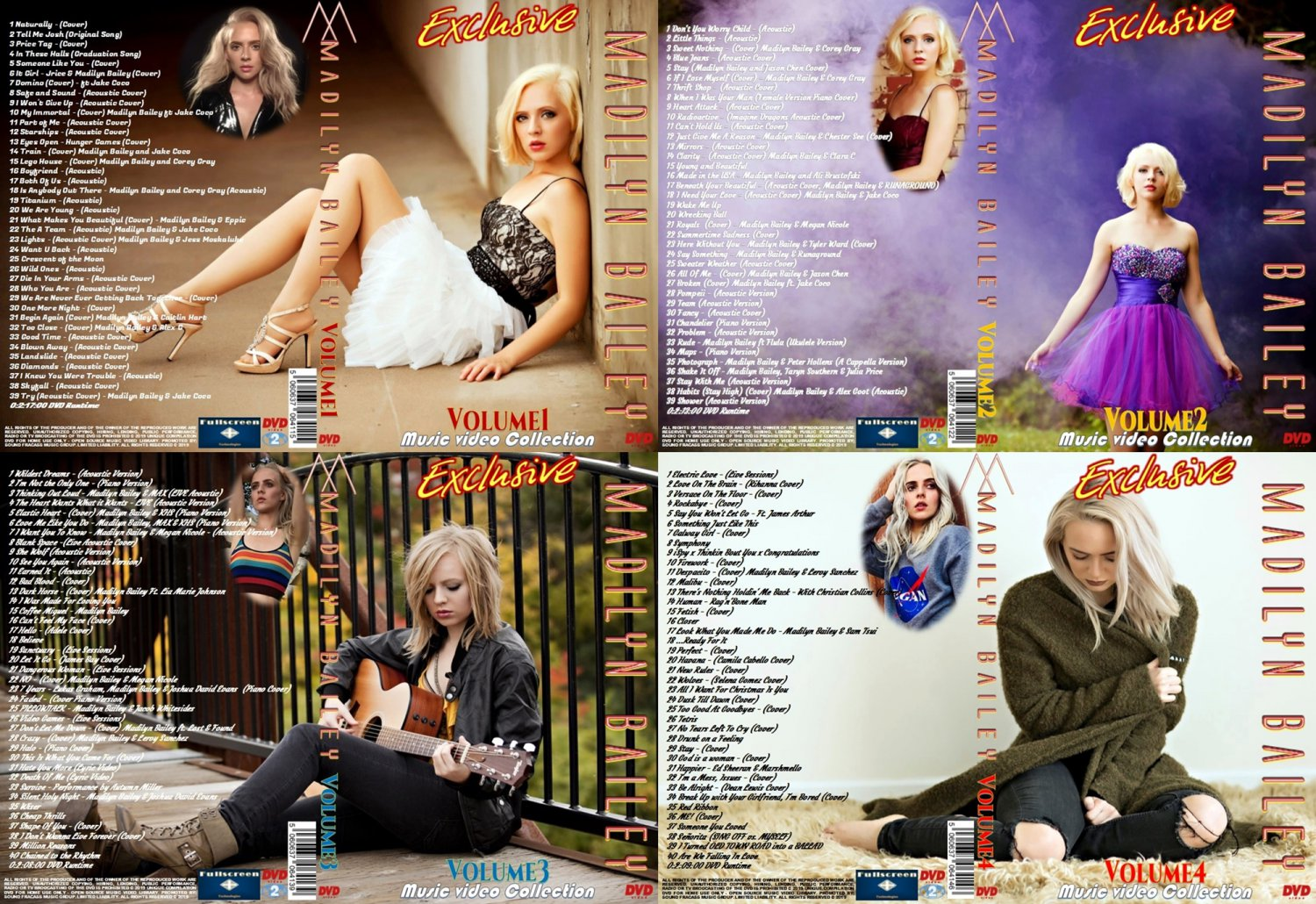 Madilyn Bailey Music Video 4 DVDs Complete Collection